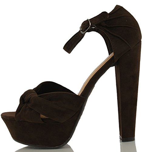 Delicious Coco Brown Faux Suede Wrap Tie Ankle Strap Platform Chunky High Heels SWAT 4ZKUCSre