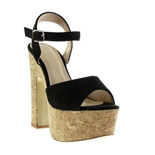 Angkorly - Scarpe da Moda sandali con cinturino alla caviglia zeppe donna sughero Tacco a blocco tacco alto 15 CM - Nero