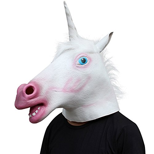 [Unicorn Horse Head Mask Latex Halloween Party Costume Animal Fun Theater Prop] (Unicorn Hooves Costume)
