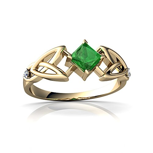 14kt Diamond Trinity Knot Ring - 14kt Yellow Gold Emerald and Diamond 4mm Square Celtic Trinity Knot Ring - Size 4.5