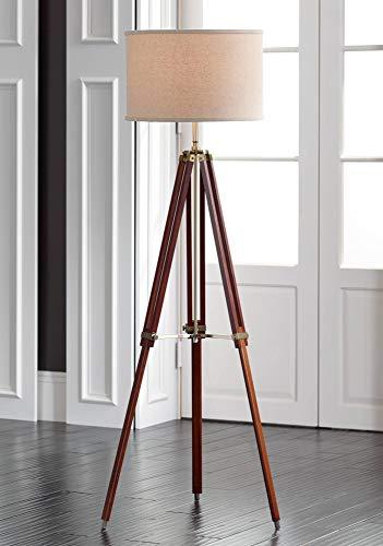 Surveyor Modern Tripod Floor Lamp Cherry Wood Beige Linen Drum Shade for Living Room Reading Bedroom Office