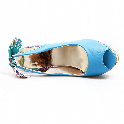 High PU with Open Bowknot Wedge Sandals Material Womens Heel Soft VogueZone009 Peep Toes Solid Blue Platform wIBRq5Fv