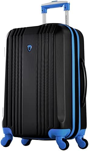 """Olympia Apache Ii 21"""" Carry-on Spinner, BLACK+BLUE, One Size"""