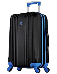 """Olympia Apache Ii 21"""" Carry-on Spinner, Black+Blue"""