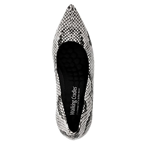 Print PU Women's Cradles White Snake Walking Black Pump Sophia 01zx8q