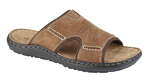 PDQ Men's Ted Casual Leather Mule Sandals Brown IvEJLR