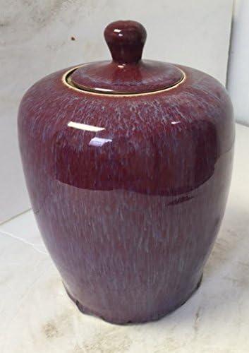 threeswallowsonline Chinese Flambe Hand Glazed Oxblood with Purple Melon jar