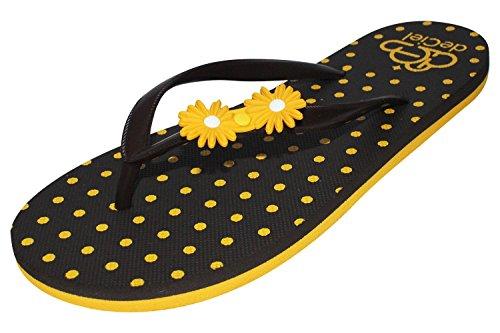 """deCiel """"yellow daisy"""" Damen Zehentrenner Sandale schick bequem und mit gelber Blume elegant als Sommerschuh"""