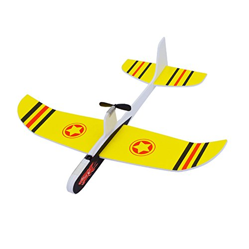 Mitoot Super Capacitor Electric Airplane Hand Throwing Aircraft Free-flying Fix Wing Foam Glider Little Stars DIY Plane Model Educational Toy for Kids (yellow) ()