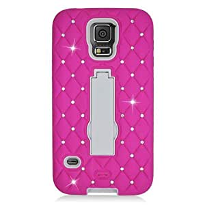 Pink White Hybrid Bling Gem Jeweled Crystal Cover for Samsung Galaxy S5 E52P