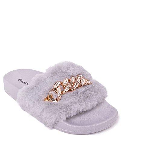 Glossy - Sandalias para mujer gris