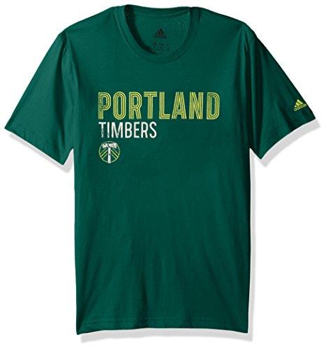 adidas MLS Portland Timbers Adult Men Tri-Line Premium Cotton Tee, X-Large, Dark - Premium Hoodie Adult