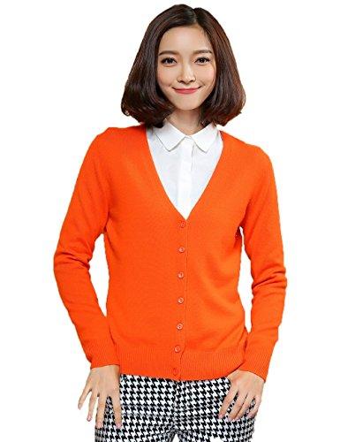 Xiouli Women's 100% Cashmere Long Sleeve V-Neck Cardigan 7202(L,Ginger) - Ginger Shaver