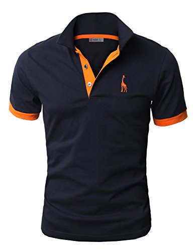H2H Mens Fine Cotton Giraffe Polo Shirts of Various Colors NAVY US L/Asia 3XL (JDSK36)