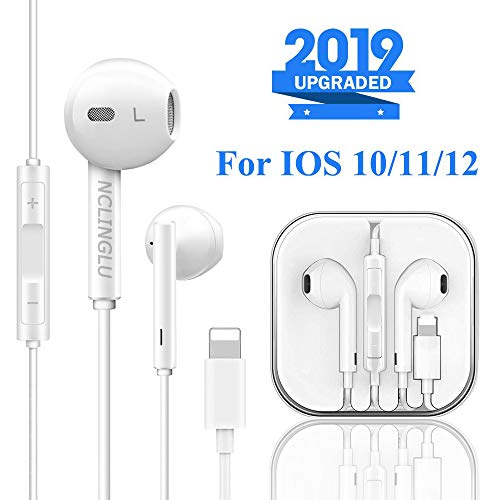 NCLINGLU Earbuds Headset Wired Earphones Headphone with Microphone and Volume Control, Compatible with iPhone 11/11Pro/Max/XS/Max/XR/X/8/Plus/7 and iOS 10/11/12 (White)