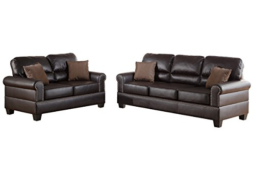 Poundex F7878 Bobkona Shelton Bonded Leather 2 Piece Sofa and Loveseat Set, Espresso