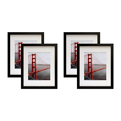Frametory, Four 11x14 Contemporary Black Picture Frame - Wide Molding - Wall Mounting Ready (4pc, 11x14) ()