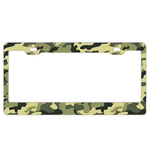 Military Camouflage Green Pattern Custom License Plate Frame Women/Men, Aluminum Metal Auto Car Tag Frame with Chrome Screw Caps - 2 Holes Car License Plate Holder for US Vehicles