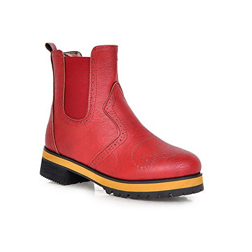 Round Pull Soft Boots Toe Low Low Red On Womens Heels Closed Top Material AmoonyFashion zpFwW