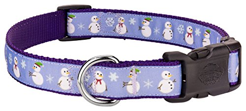 Christmas Pet Ribbon Dog Collar (Country Brook Petz | Deluxe Christmas Snowman Ribbon Dog Collar - Medium)