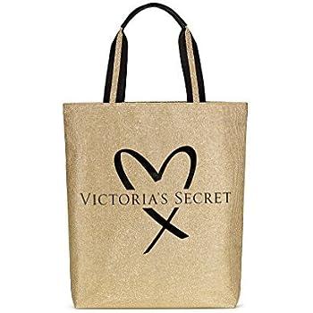 1a17e362 Victoria's Secret Fashion Show tote bag glamour glitter Gold & black heart  logo