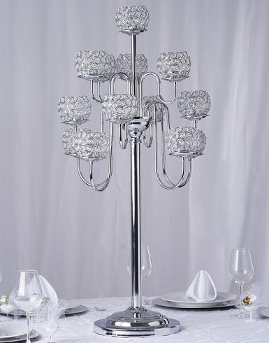 Efavormart 39.5'' Silver Crystal Beaded 13 Arm Candelabra Chandelier Votive Candle Holder Wedding Centerpiece by Efavormart.com (Image #6)