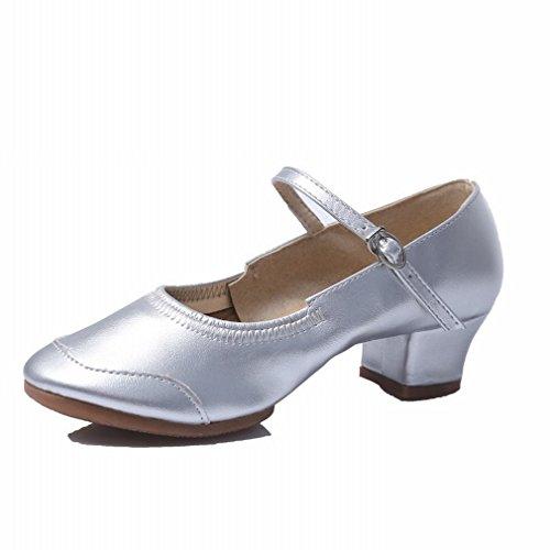 Samba de Sandalias Inferior Baile Baile la de Zapatos de Cuero BYLE 36 de Baile Moderno Plata Tobillo Jazz Zapatos Moderna Zapatos bajo Danza de Plaza Blanda OwqCI