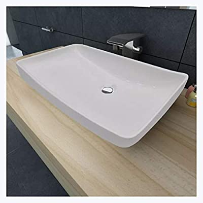 "K&A Company Luxury Ceramic Basin Rectangular 28""x15"" White"
