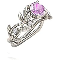 Floral Rings ODGear Women Silver Transparent Flower Vine Leaf Ring Wedding Gift Engagement Diamond