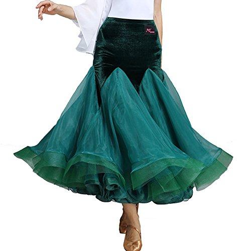 Performance Velluto Di jiu Dance amp; Q Ballroom Da Naturale Tutus Gonne Donna Green 8Fnzvxqz