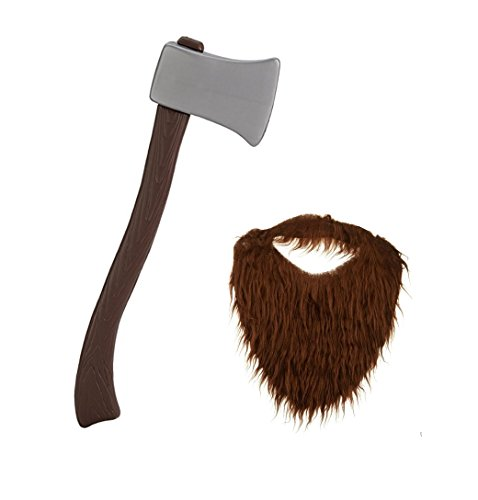 Lumberjack Brown Beard with Plastic Toy Ax Bundle-2 Items -
