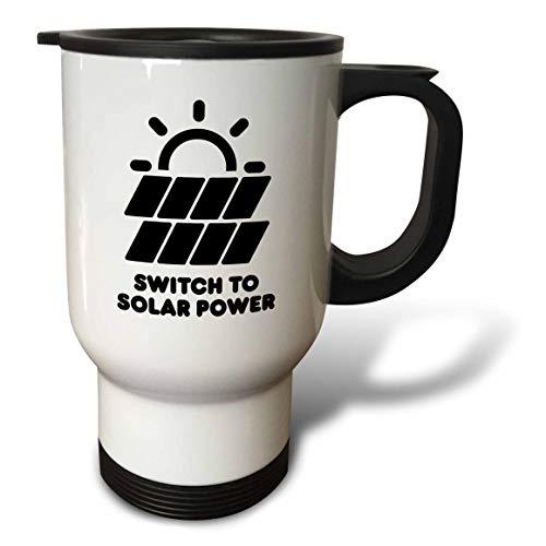 3dRose Carsten Reisinger - Illustrations - Switch to solar power electric power from the sun alternative energy - 14oz Stainless Steel Travel Mug (tm_294721_1) by 3dRose