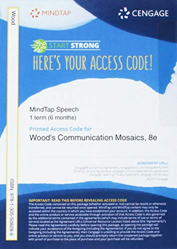 MindTap Speech, 1 term (6 months) Printed Access Card for Wood's Communication Mosaics: An Introduction to the Field of Communication, 8th