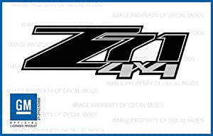 GMC Sierra Z71 4x4 decals stickers Black Blackout - FBLK (2007-2013) bed side 1500 2500 HD (set of 2) [Officially Licensed, made in the USA, brand Decal Mods]