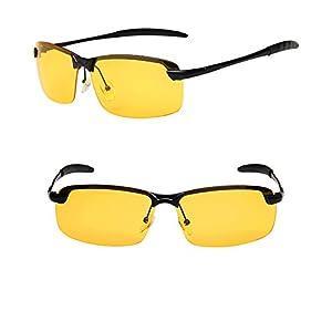 UV Protection Yellow Night Vision Wayfarer Sunglasses for Driving ,Fishing ,Golf, Cycling, Running (black, yellow)