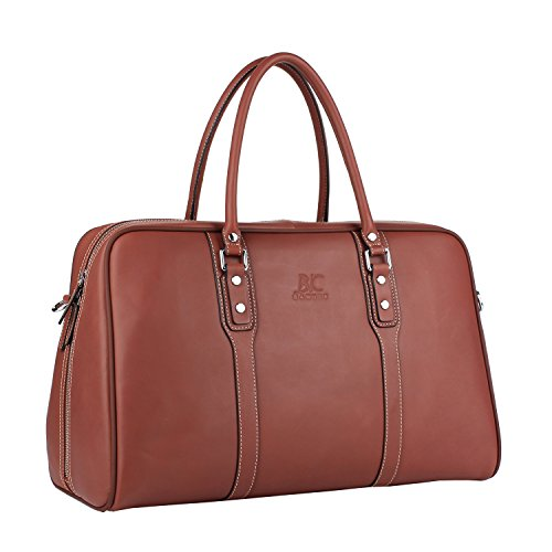 - Banuce Vintage Genuine Leather Travel Duffels Bag for Men Tote Handbag Business 1-3 Days Overnight Weekend Shoulder Messenger Bag Wine Red