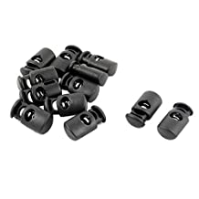 uxcell® Plastic Outdoor Single Hole String Cord Lock Clamp Toggle Spring Stop 12pcs Black