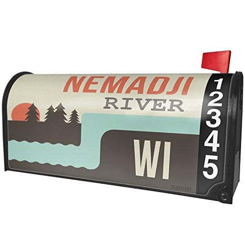 NEONBLOND USA Rivers Nemadji River - Wisconsin Magnetic Mailbox Cover Custom Numbers