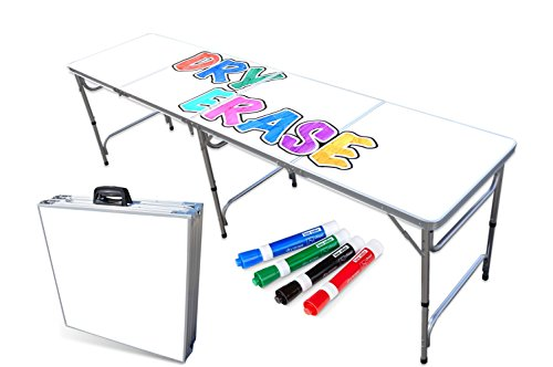 PartyPongTables.com Portable Folding Table w Dry Erase Surface Markers for Art, Classroom, Parties, and More 4 ft or 8 ft
