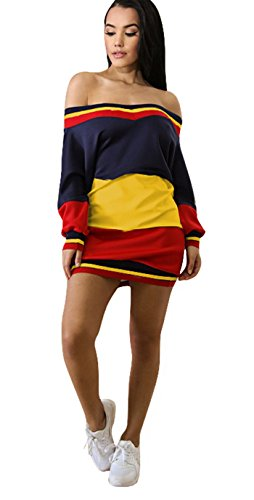 47681870a1bd0 Felicity Young Women s Casual Long Sleeve Off Shoulder Colorblock Pullover  Sweatshirt Dress Loose Tunic T Shirt Blouse Tops