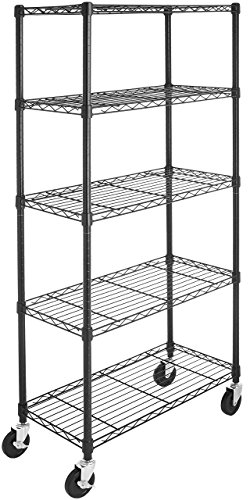 AmazonBasics 5-Shelf Shelving Storage Unit on 4'' Wheel Casters, Metal Organizer Wire Rack, Black (Metal Shelf Wheels)