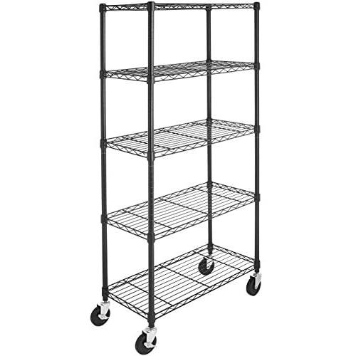 AmazonBasics 5-Shelf Shelving Unit on 4 Casters, Black