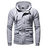 Corriee Men Hoodies Coat Mens Autumn Winter Casual Long Sleeve Zipper Pocket Party Blouse Fashion Warm Hooded Coat