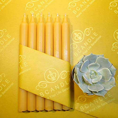 100% Beeswax Tapers (Set of 6) Candles - 7.5 Inches Tall, 3/4 Inch Diameter