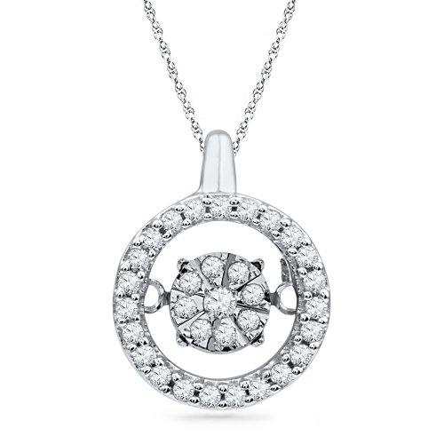 10KT White Gold Round Diamond in Motion Circle Pendant 1 5 cttw