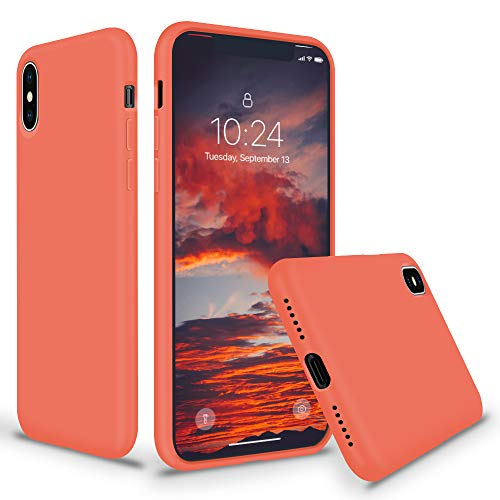 SURPHY iPhone Xs MAX Silicone Case, Liquid Silicone Gel Rubber Anti-Scratch 6.5 inch Phone Case for Apple iPhone Xs MAX 2018, Nectarine