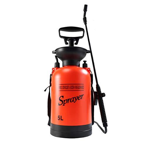 CLICIC Lawn and Garden Portable Sprayer 1.3 Gallon - Pump Pressure Sprayer Includes Shoulder Strap ()
