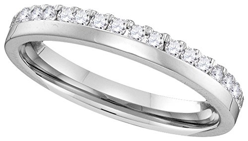 14k White Gold Round Diamond Band Wedding Anniversary Ring (1/5 Cttw)