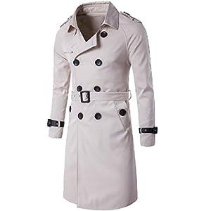 CuteRose Men's Business Solid Color Knee Length Trench Coat With Belt Beige S