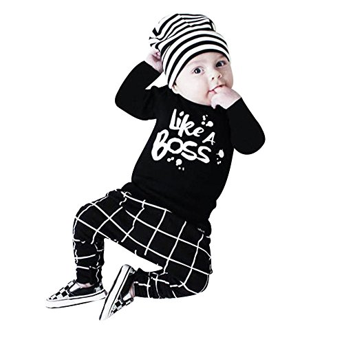 Charberry Toddler Baby Boy Outfit Lettering Printed Long Sleeve T-shirt Tops+ Pants Set (Spoon Long Sleeve T-shirt)